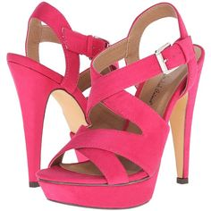 Michael Antonio Randy-Sue (Fuchsia) High Heels ($36) ❤ liked on Polyvore featuring shoes, sandals, pink, pink shoes, open toe platform sandals, michael antonio sandals, platform sandals and high heel platform shoes