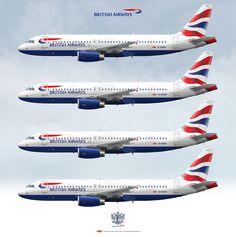 British Airways Airbus A320-232 Fleet G-EUUA G-EUUB G-EUUC G-EUUD