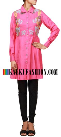 Buy Online from the link below. We ship worldwide (Free Shipping over US$100) http://www.kalkifashion.com/pink-kurti-with-thread-embroidered-bodice-only-on-kalki.html