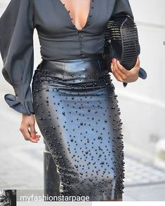 Faux Leather Pearl Embellished Skirt Color: Black, BrownSize: M, L, XL, Stretchable Paris Chic, Skirt Fashion, Fashion Dresses, Fashion Clothes, Fashion Accessories, Fashion Jewelry, Black Women Fashion, Womens Fashion, Ladies Fashion