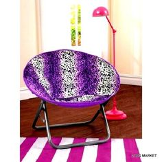 Faux Fur Saucer Chair Foldable Μultiple Colors Seat Purple Indoor Living Room  #Cocoon