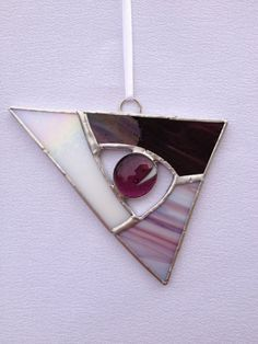 Stained Glass Ornament - Art Deco Purple and White