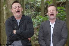 Ant and Dec can't stop laughing, very funny TV presenter duo who started out as child actors and went onto singing and are now Britain's most highly paid TV presenters