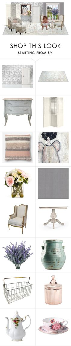 """""""SHABBY CHIC"""" by paula-parker ❤ liked on Polyvore featuring interior, interiors, interior design, home, home decor, interior decorating, Pier 1 Imports, Brewster Home Fashions, Saks Fifth Avenue and Royal Albert"""