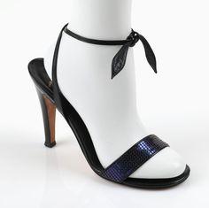 VTG 1970s HALSTON BLACK LEATHER & BLUE MESH STRAPPY EVENING SANDALS HEELS SZ 8 M #Halston #Heels