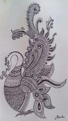 Peacock Painting, Peacock Art, Mural Painting, Peacock Drawing, Kalamkari Painting, Madhubani Painting, Art Drawings Beautiful, Art Drawings Sketches Simple, Mandala Art Lesson