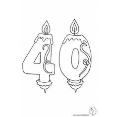 Disegno di Quaranta Anni Candeline Compleanno da colorare