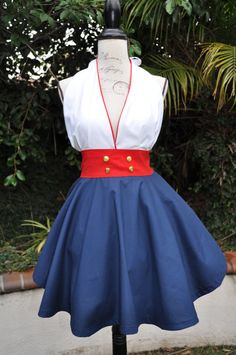 Nautical PinUp Apron by creationsbyjeanette on Etsy Snow White Outfits, Cute Aprons, Fifties Fashion, Sewing Aprons, Vintage Nautical, Pin Up Dresses, Diy Clothing, Retro Dress, Playing Dress Up