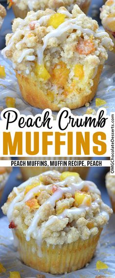 Peach Crumb Muffins are fluffy homemade muffins perfect for breakfasts and snacks. Moist and flavorful muffins loaded with fresh summery peaches, finished with sweet, buttery, cinnamon streusel crumb topping are the best muffin recipe ever! Cupcake Recipes, Baking Recipes, Cupcake Cakes, Dessert Recipes, Pastries Recipes, Keto Recipes, Dinner Recipes, Best Muffin Recipe, Simple Muffin Recipe