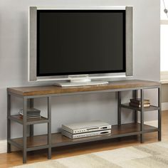 Furniture of America Payton Industrial Tiered TV Stand - Overstock Shopping - Great Deals on Furniture of America Entertainment Centers Metal Tv Stand, Solid Wood Tv Stand, Diy Tv Stand, Steel Furniture, Industrial Furniture, Industrial Tv Stand, Industrial Metal, Furniture Sale, Vintage Furniture