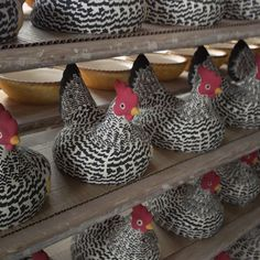 The Black Toast hens waiting patiently to be dipped and fired. #EmmaBridgewater #Hens
