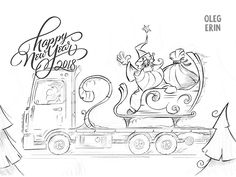 new year, drawing, sketch, claus, christmas, merry, shipping, truck, delivery, santa, illustration, postcard