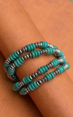 Turqoise Bead with Silver Rondelles