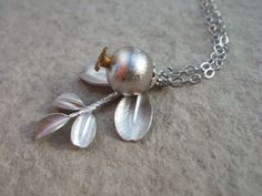 Silver Pomegranate and Silver Leaf