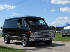 Conjure this 1977 Chevy Van in vivid yellow with passenger windows, rumbling along to Long Beach!