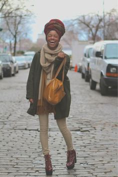 Very nice turban/fall/casual Afro Style, Hippie Style, My Style, Black Girl Fashion, Look Fashion, Fashion Clothes, Fall Fashion, Moda Afro, Estilo Hippie