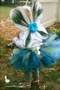 "Halloween Costume - ""Tutu Cute"" Peacock - Girl Toddler Baby Infant Newborn Halloween Costume. I would change this just a bit.....and give her a peacock tail not butterfly wings. Too cute!"
