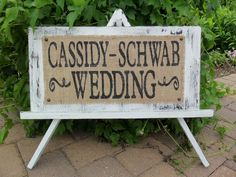 WEDDING SIGN custom shabby cottage with name burlap. $49.00, via Etsy.