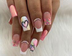 Cute Acrylic Nail Designs, Cute Acrylic Nails, Cute Nails, Pretty Nails, Nail Art Designs, Gel Nails, White Tip Nails, Semi Permanente, Trendy Nail Art