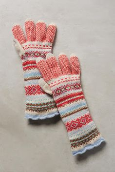 Fairisle Folk Wool Gloves