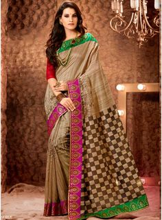 Angelic Brown Silk Printed With Pink Patch Border Work Saree. Online Buy Half n Half Saree In Canada http://www.angelnx.com/