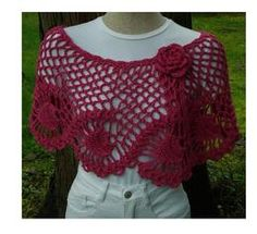 Pineapples Wrap or Capelet - PW-112 - A crochet pattern from Nancy Brown-Designer. A lovely capelet fastened with a fabulous crocheted rose. A design for the Experienced Crocheter to show off your crocheting skills. This pattern PDF can be purchased for $3.99, just click on the photo.