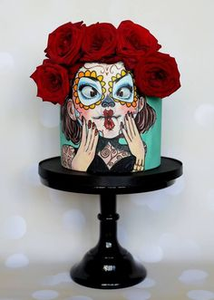 Day of the Dead Cake – Cakey Bakes Cakes - Cake Decorating Cupcake Ideen Crazy Cakes, Cake Day, Eat Cake, Fondant Cakes, Cupcake Cakes, Day Of The Dead Cake, Tattoo Cake, Cupcakes Decorados, Funny Cake