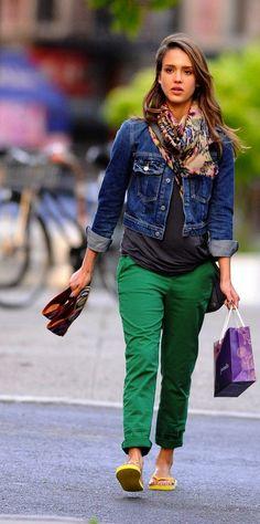 Denim jacket, gray shirt, green chinos, colorful scarf, & yellow flip flops.