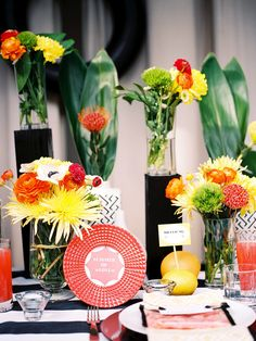 #tablescape with a huge punch of color #yellow #orange Photography by chelseascanlan.com, Event and Floral Design by http://bonwed.com  Read more - http://www.stylemepretty.com/2013/08/20/citrus-inspired-photo-shoot-from-chelsea-scanlan-photography/
