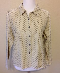 Beige and Black  Dotted Swiss Blouse or Jacket, Ladies Medium by Oldtonewjewels on Etsy