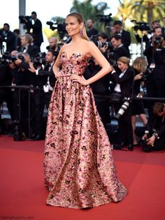 "Natasha Poly in Prada gown at the ""Loving"" premiere during the 69th annual Cannes Film Festival. #cannes #festivaldecannes #natashapoly"