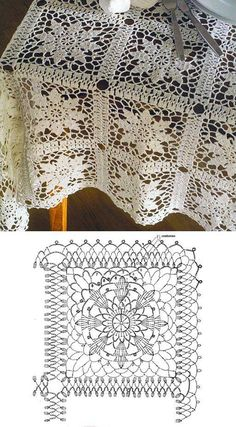 Crochet lace square motif. Here in tablecloth but could be used in bedspread. Similar to the Queen Anne's Lace square. ~~ 1491767_264462270372993_1643879527_n.jpg (512×927)