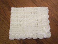 White Baby Blanket Crochet Christening Afghan by pegsyarncreations