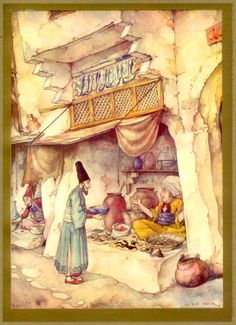 """The Art of Anton Pieck. """"1001 Arabian Nights"""" Anton Pieck (1895-1987) was a Dutch painter and graphic artist. The work of Anton Pieck contains paintings in oil and watercolour, etchings, woodcarvings, engravings, litho's, travel-drawings and textbook- illustrations."""