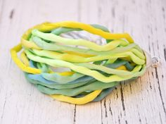 Hand dyed silk bracelet in shades of green and by KatarzynaKaMaART, $22.00