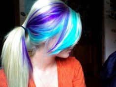 Simple ponytail hairstyle with purple and blue highlights