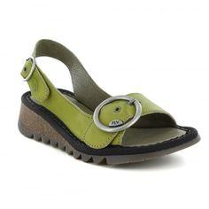 Fly London Tram Womens Leather Slingback Sandals - Lemon Green