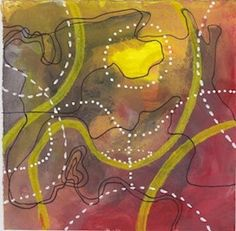 Digital print of original artwork. Abstract, map, red, black, yellow and white. Watercolour, gouache and acrylic marker on paper.