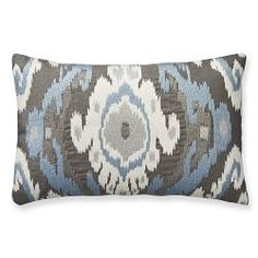 Istanbul Ikat Embroidered Pillow Cover, Blue