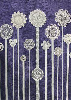 Jardin de Fleurs by Alice Leduc. Lace doily quilt. 2014 Quebec quilt show (CQQ). Photo by Kaya Joy Designs.
