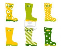 Wellington spring boots collection. Vector