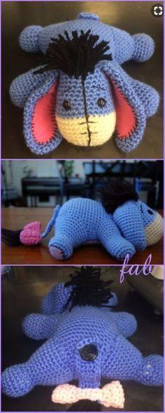 Crochet Eeyore Free Patterns - Crochet Eeyore Amigurumi Free Pattern #CrochetProjects