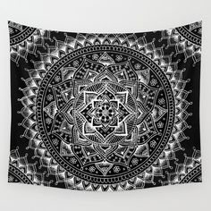 White Flower Mandala on Dark Blue Wall Tapestry by laurelmae Blue Tapestry, Tapestry Bedroom, Bohemian Tapestry, Mandala Tapestry, Tapestry Wall Hanging, Wall Hangings, Black And White Wall Tapestry, Boho, Dark Blue Walls