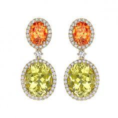 Mandarin Garnet, Lemon Beryl and Diamond Drop Earrings