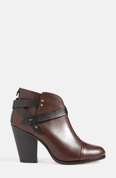 these black and brown criss cross strap chunky heel booties are at the top of my wishlist