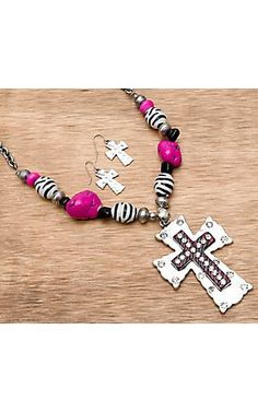 M® Pink and Zebra Stones and Beads Cross Necklace and Earrings Jewelry Set | Cavender's Boot City