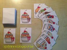 Juf Janna: De bakker Memoryspel met kleine details (kleurenverschil in strikjes). Van elk motiefje zijn er 2 soorten, telkens met een strikje in een andere kleur.  Variant: Het spel kan vereenvoudigd worden door het verschil in strikjes weg te laten.