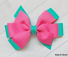 Hot Pink and Teal Pinwheel Bow  Pink and Teal por BabyABows en Etsy