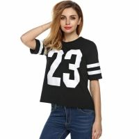Finejo Women Numbers Print Short Striped Sleeve O-neck Sports Tops Loose T-shirt