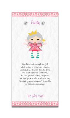 "Handmade Personalised Thank You,Keepsake poem""Flower Girl/Bridesmaid Card""Favour"